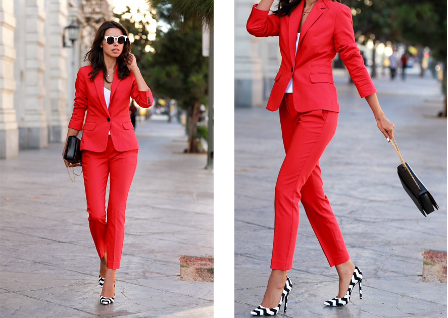 red pantsuit