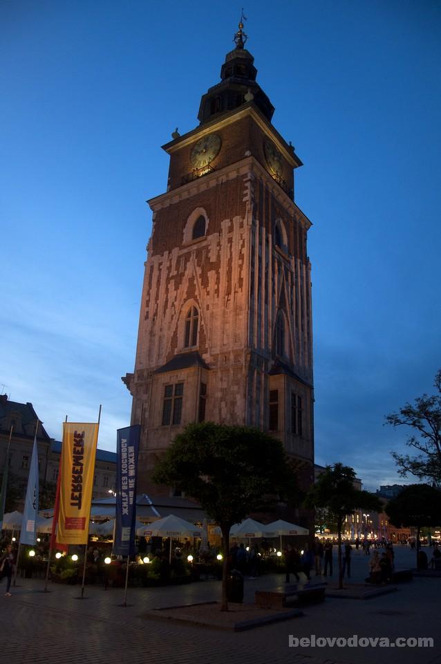 Ратуша в Кракове вечером