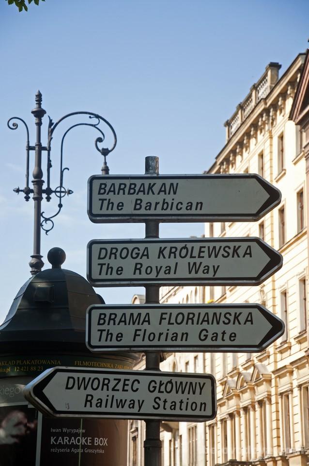 указатели достопримечательностей в Кракове